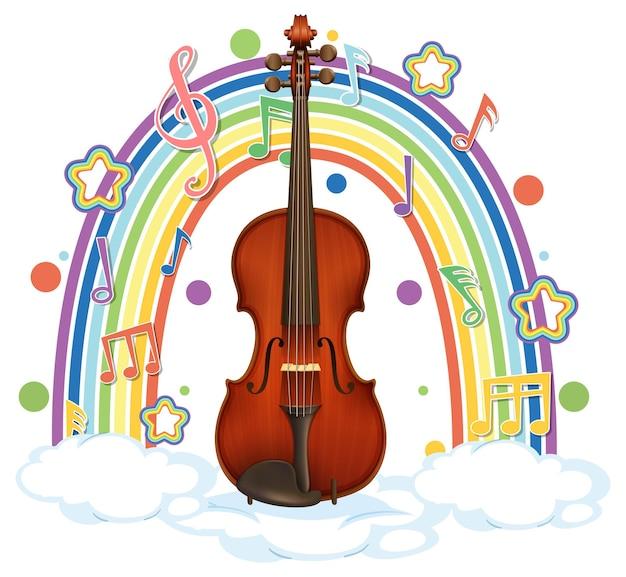 Violino con simboli di melodia su arcobaleno