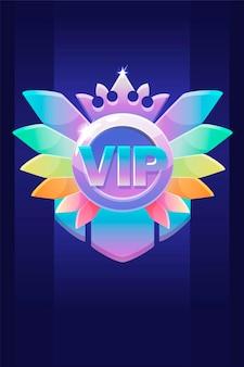 Vip award badge, premio con una corona di diamanti per i giochi dell'interfaccia utente. vincitore della ricompensa dell'icona di lusso dell'illustrazione vettoriale, medaglia per la progettazione grafica.