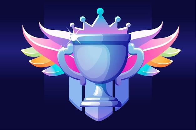 Premio coppa vip con le ali per il vincitore per i giochi dell'interfaccia utente. revard dell'illustrazione di vettore per la vittoria, icona di lusso del diamante per la progettazione grafica