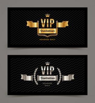 Modello di invito vip d'oro e d'argento. illustrazione. Vettore Premium