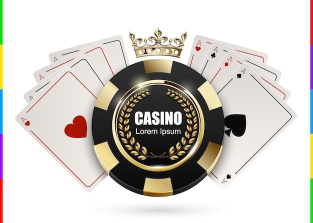 Chip vip poker nero e dorato di lusso in corona d'oro con il concetto di logo del casinò di carta asso emblema del club di poker reale con corona di alloro isolato su priorità bassa bianca