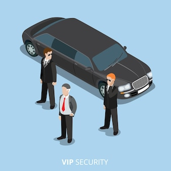 Vip security bodyguard service flat 3d isometrico illustrazione web