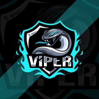 Viper mascotte logo esport design