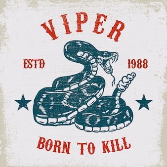 Illustrazione del serpente della vipera su struttura del grunge
