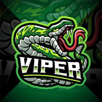 Design del logo della mascotte del serpente vipera