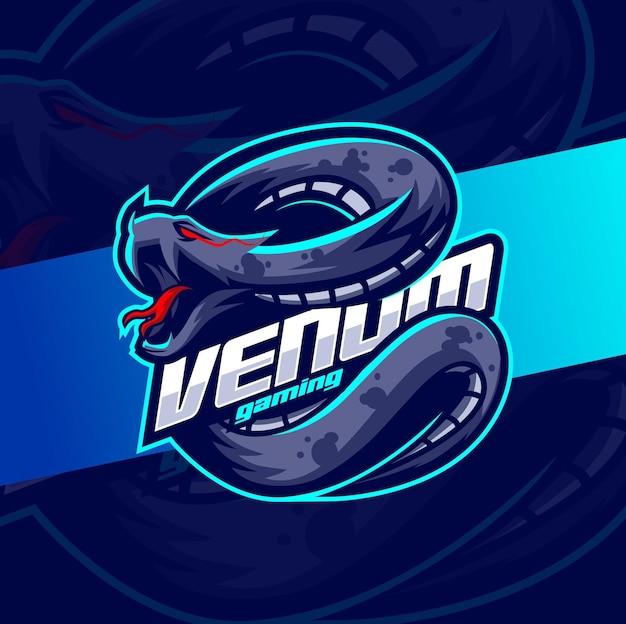 Mascotte del serpente veleno di vipera per il design del logo di gioco e esport
