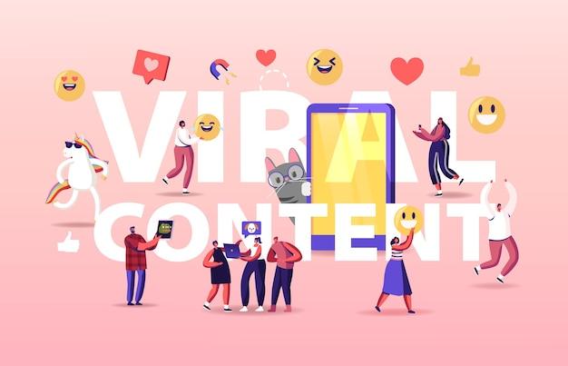 Concetto di contenuto virale. piccoli personaggi in un enorme cellulare con buffo unicorno e gatto.