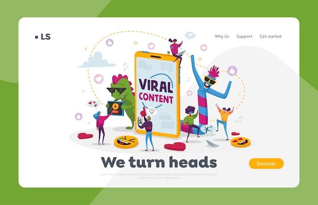 Modello di pagina di destinazione del contenuto virale. tiny people dance at enorme cellulare con personaggi divertenti. blogging sui social media, streaming di film, attrattiva di rete online. cartoon