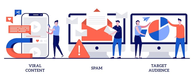 Contenuti virali, spam, concetto di pubblico di destinazione con persone minuscole. insieme dell'illustrazione dell'estratto di strategia di marketing dei media sociali. meme internet, filtro della posta, sicurezza web, condivisione della metafora del post.