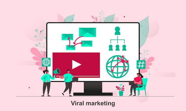 Viral marketing web concept design in stile piatto con personaggi minuscoli