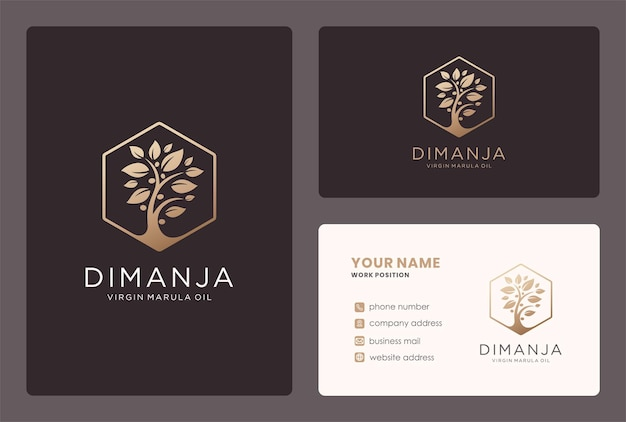 Design del logo dell'olio vergine con elemento albero di marula.