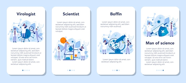 Set di banner per applicazioni mobili virologo