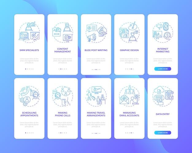 L'assistente virtuale lavora sulla schermata della pagina dell'app mobile di onboarding blu scuro con i concetti impostati