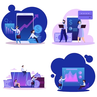 Insieme di concetto di affari virtuali. tecnologia moderna, internet