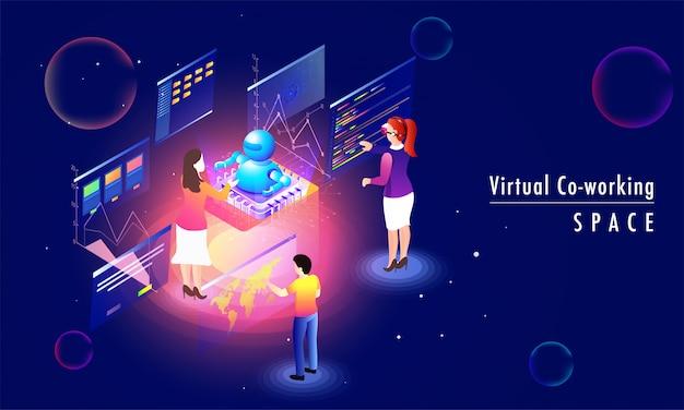 Progettazione della pagina di destinazione basata sul concetto di virtual co-working space.