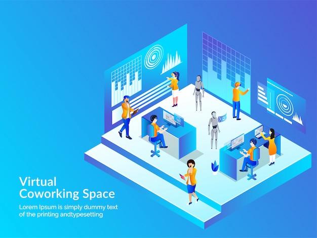 Concetto di spazio virtuale di coworking.