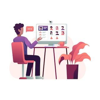 Teleconferenza virtuale di una riunione di gruppo aziendale con illustrazione di un collega