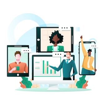 Teleconferenza virtuale di una riunione di gruppo aziendale e lavoro da casa illustrazione