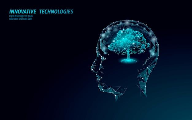 Concetto di ingegneria dell'albero di biotecnologia digitale virtuale. render. soluzione per la mente della natura. idea creativa scienza medica. ricerca futura di biologia del poligono di eco