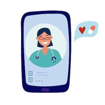 Illustrazione vettoriale disegnata a mano di medico virtuale