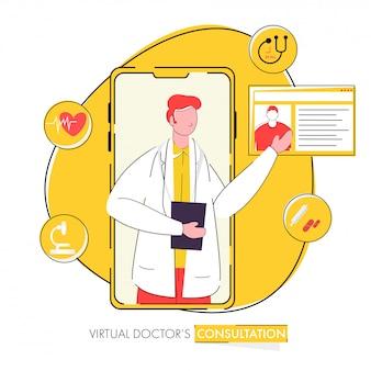 Manifesto basato sul concetto di consultazione del dottore virtuale per la pubblicità.