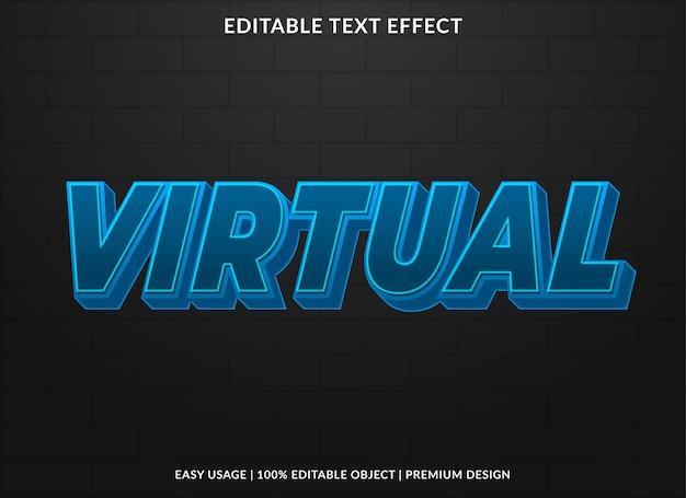Modello di effetto di testo virtuale modificabile vettore premium