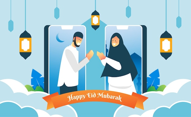 Saluto virtuale di eid mubarak tramite smartphone