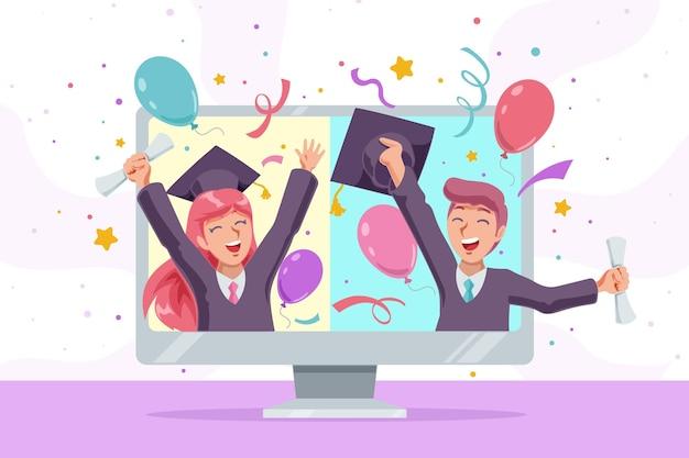 Concetto di cerimonia di laurea virtuale
