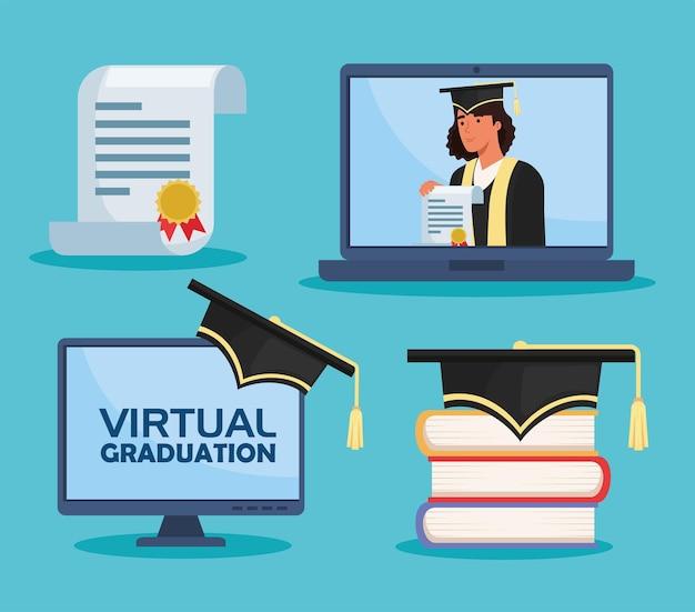 Icone della cerimonia di laurea virtuale