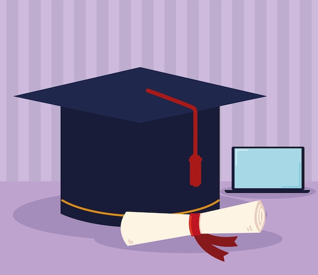 Cappello di laurea virtuale e certificato