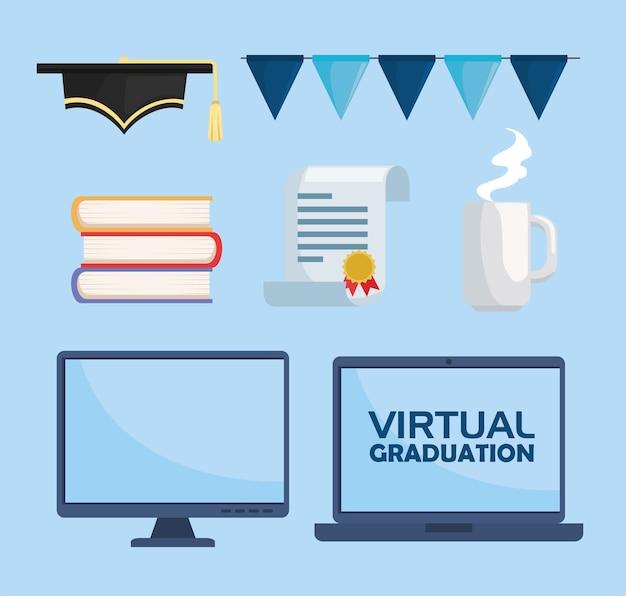 Icone di laurea virtuali