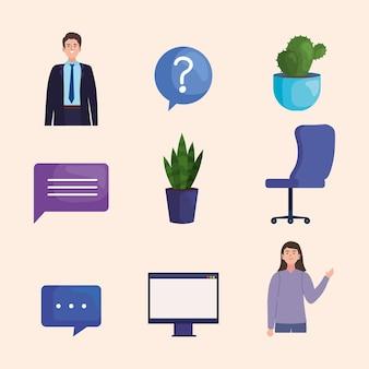 Set di icone di lavoro virtuale