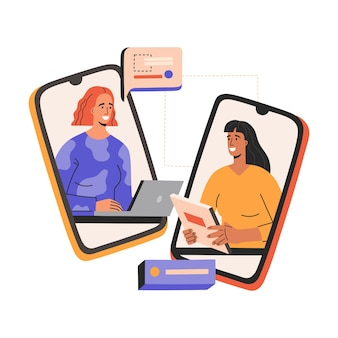 Colloquio di lavoro virtuale, due donne sorridenti hanno incontro di lavoro, incontro tramite smartphone.