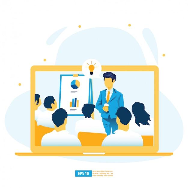 Apprendimento virtuale, formazione digitale online, e-learning con intelligenza artificiale, formazione online ed illustrazione di concetto del libro elettronico