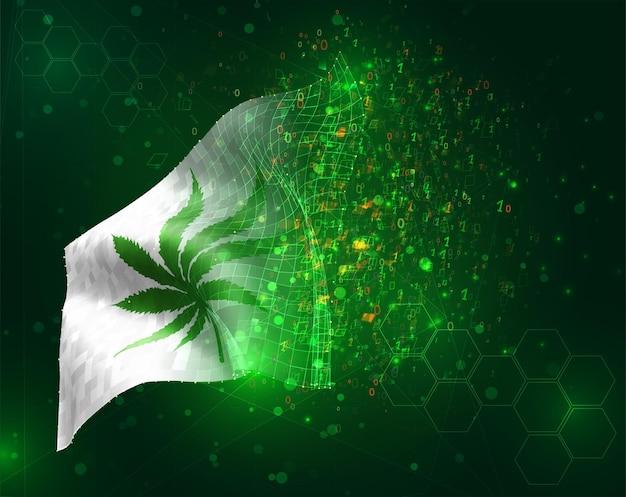 Marijuana virtuale, bandiera vettoriale 3d su sfondo verde con poligoni e numeri di dati