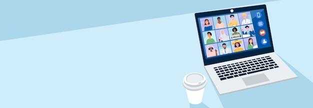 Concetto di riunione virtuale, persone che hanno videoconferenza con i loro colleghi a casa.
