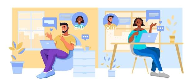 Riunione virtuale e illustrazione di chat di gruppo con diverse persone multinazionali con smartphone