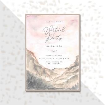 Carta di invito evento festa virtuale con sfondo acquerello paesaggio