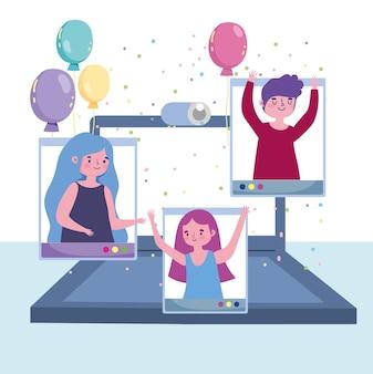 Festa virtuale, celebrazione felice della gente festosa con l'illustrazione del computer portatile