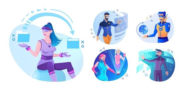 Realtà virtuale e realtà aumentata. persone e tecnologie future. illustrazioni futuristiche