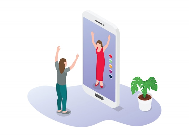 La tecnologia della realtà virtuale o della realtà aumentata per la moda e-commerce acquista nuovi abiti con uno stile moderno e piatto