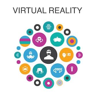 Concetto di cerchio di realtà virtuale elementi dell'interfaccia utente intelligente casco vr realtà aumentata controller vr
