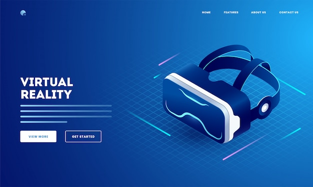 Concetto di realtà virtuale con illustrazione di occhiali 3d vr. può essere utilizzato come design della pagina di destinazione del sito web. Vettore Premium