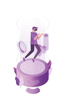Illustrazione piana di realtà virtuale. gioco online, concetto di mondo simulato. giocatore di internet, giocatore con personaggio dei cartoni animati di occhiali 3d.
