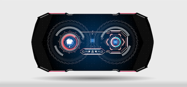 Realtà virtuale futuristic vr headup display design casco scifi