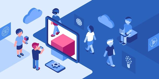 Icone di gioco di realtà virtuale con le persone