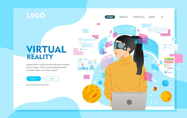 Concetto di occhiali per realtà virtuale, con giovani donne che indossano occhiali per realtà virtuale mentre lavorano con il laptop.