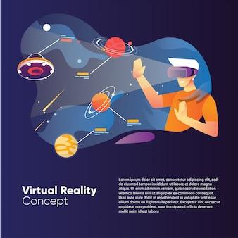 Concetto di illustrazione di realtà virtuale con un uomo utilizza una scatola vr con galassia spaziale e pianeta