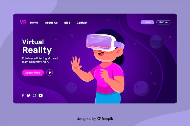 Modello di landing page di realtà virtuale Vettore Premium