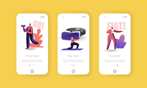 Tecnologia di realtà virtuale per modello di schermata della pagina dell'app mobile di allenamento sportivo